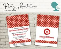 Christmas Quatrefoil Party Invitation $10AUD by The Digi Dame Printable Party Decor. Visit thedigidame.com to purchase!