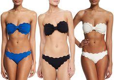 Marysia Antibes Scalloped Bandeau Bikini in teal blue, black and white