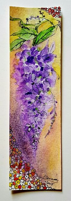 A beautiful bunch of wisteria bloosoms adorns this bookmark. The Art Nouveau style pen embellishments unique to this painting are my original drawings. The bookmark measures 7 1/8 x 2 1/8 and the painting is executed on 140lb Strathmore watercolor paper. The bookmark is protected by a vinyl sleeve and is a perfect example of Art in Motion or Useable Art. This piece of art is the perfect gift for the avid reader or nature lover.