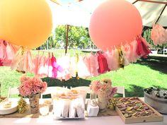 Mila's 1st Birthday Party. Picnic in the park. Balloons, tissue tassel fringe, dahlias, birch, burlap, organic tartines from Le Pain.