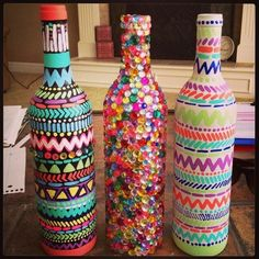Reuse Your Wine Bottles!! Gorgeous DIY Home Decoration! @Megan Ward Ward Ward Ward Fagundes -this is my kinda bottle craft!