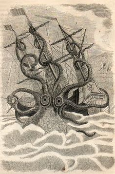 illustration of a giant squid taking down a ship