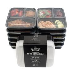 California Home Goods 3 Compartment Reusable Food Storage Containers with Lids, Microwave and Dishwasher Safe, Bento Lunch Box, Stackable, Set of 10