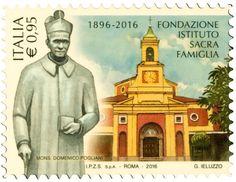 """Francobollo ordinario appartenente alla serie tematica """"il Senso civico"""" dedicato alla Fondazione Istituto Sacra Famiglia,nel 120° anniversario della fondazione"""