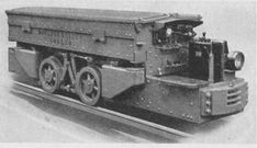 """Type """"B"""" Coal mining battery locomotive. Available in 3 to 9-ton standard sizes. outside wheel model. widely preferred for its accessibility of parts and ease in rerailing. Built in 3 to 12-ton standard size. Atlas Car & Manufacturing Co."""