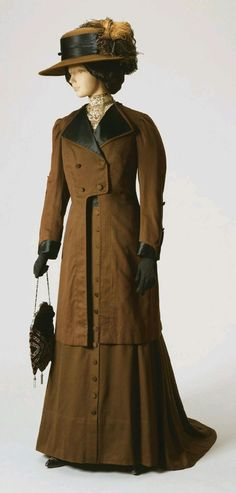 Woman's Dress and Jacket by John Wanamaker Company (Philadelphia and New York) Culture: American Date: c.1908 Medium: brown wool flannel and silk satin Location: Philadelphia Museum of Art