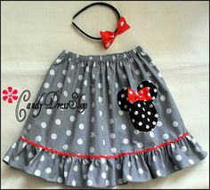 Girls Minnie Mouse inspired skirt Gray and white by CandyDressShop