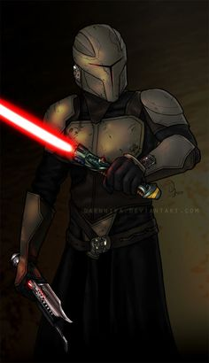 """Work done for XAresX from the SWTOR boards (www.swtor.com). I only had a rough sketch to work with and I picked those saber hilts from the concept art pictures of the upcoming game """"The Old Republi..."""