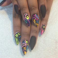 Colors -N- Matte by RebelNailz via @nailartgallery #nailartgallery #nailart #nails #polish
