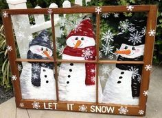 Top 30 Lovely and Cheap DIY Christmas Crafts Sure to Wow You, DIY and Crafts, Beautiful snowman window frame Snowman Crafts, Holiday Crafts, Holiday Fun, Diy Snowman Decorations, Cheap Christmas Crafts, Crafts Home, Christmas Decorations For Outside, Christmas Crafts For Gifts For Adults, Noel Christmas