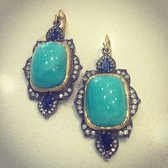 The perfect summer earring....we've got them! #arman #trunkshow #thingstodo #saturday #handcrafted #designer #turquoise #diamonds #bling #love #losangeles #please #want #summer #gold #silver #sapphire #drool #singlestonemissionstreet