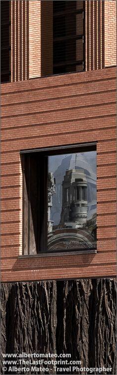 Circulo de Bellas Artes tower reflected on the Prado Museum new building, Paseo del Prado, Madrid, Spain.   Cityscape by Alberto Mateo, Travel Photographer.