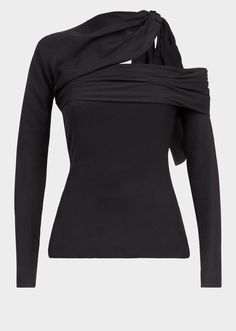 """Asymmetric Crêpe Top from Versace Women's Collection. The """"look-at-me"""" top in crêpe is figure hugging, long sleeved and features an asymmetrical neckline and backline. Stage Outfits, Kpop Outfits, Celebrity Outfits, Girly Outfits, Fashion Outfits, Crepe Top, Couture Outfits, Fashion Forever, Fantasy Dress"""