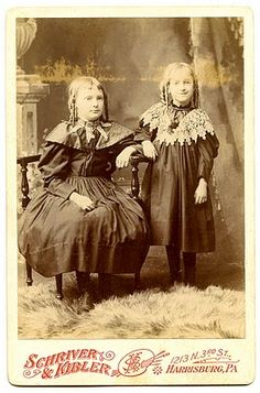 Vintage Clip Art – Old Photo – Sisters – Halloween