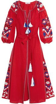 Robe longue en lin brodée Kilim