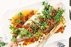 Baked snapper with crunchy Asian-style dressing