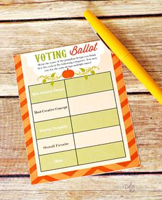 Pumpkin Decorating Party Award Ballot Printable