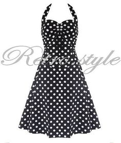 BLACK & WHITE POLKADOT HALTERNECK 50s VINTAGE ROCKABILLY STYLE SWING DRESS | eBay