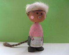 Miniature wooden troll; scandinavian, vintage, handmade, handpainted, peg doll