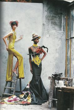 """Couture Clash,"" Vogue US April 1997 John Galliano for Christian Dior Spring Summer 1997 Maasai inspired collection"