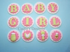 Fondant Cupcake Topper Edible Baby Girl  Baby Shower Cake Cookie. $12.50, via Etsy.