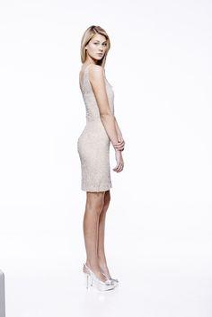 Regal Short in Nude #eileenkirby #cocktaildress #blacktie #holidaydress #newyearsevedress #prom #eveningwear #beading #sequins