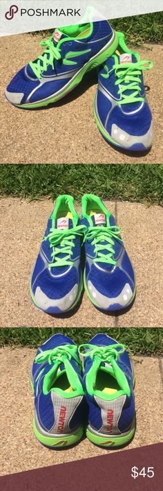 Men's Newton running shoes Newton running shoes men's size 10 blue and neon green. Has reflectors. Marked Nike for more exposure. Nike Shoes Athletic Shoes