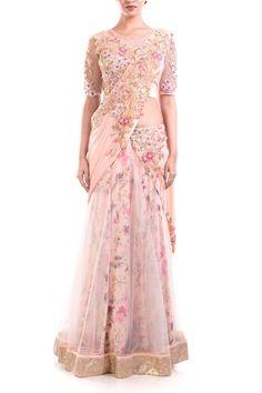 Anushree Agarwal, Designers, Coutureyard, ANUSHREE AGARWAL , Raw Silk, Chiffon, Lycra Net, Tafetta, Net , Dry-Clean ,  , Sequins, Beads , Pink