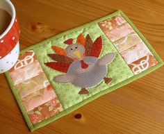 Thanksgiving Turkey Mug Rug from The Patchsmith   Check out patterns on Craftsy!