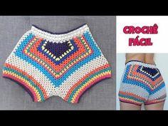 Crochet Shorts Pattern, Crochet Pants, Crochet Cord, Crochet Skirts, Crochet Square Patterns, Crochet Blouse, Crochet Designs, Crochet Clothes, Como Fazer Short