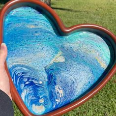 Fluid Art Wood Heart Tray - Perfect as a Serving Tray, Decorative Tray, Trinket Tray, Appetizer Tray! Blue Pottery, Pottery Art, Serving Tray Wood, Heart Crafts, Christmas Table Decorations, Unique Wall Art, Glazes For Pottery, Glass Candle Holders, Wood Sculpture