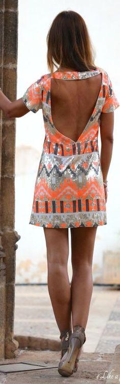 Kuka & Chic Bw/coral Sexy Open Back Aztec Print Sequin Mini Dress by Like A Princess Like.... Kuka