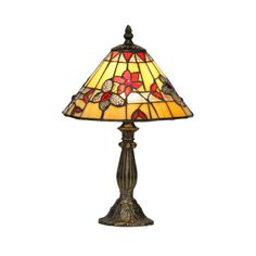 Oaks Lighting Butterfly Tiffany Glass Table Lamp With Bronze Base