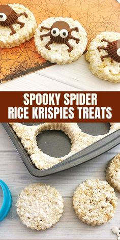Spooky Spider Rice Krispies Treats are the perfect Halloween snack or party treat. So fun to make as they are to eat! Spooky Spider Rice Krispies Treats are the perfect Halloween snack or party treat. So fun to make as they are to eat! Halloween Desserts, Halloween Treats For Kids, Spooky Treats, Fall Treats, Party Treats, Halloween Cupcakes, Holiday Treats, Happy Halloween, Halloween Jars