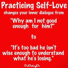 """Time for #love #quotes by antithesisofhip #realtalk @Regrann from @edatingdr - Practicing self love changes your inner dialogue from """"Why am I not good enough for him?"""" to """"It's too bad he isn't wise enough to understand what he's losing."""" # When entering a new relationship practicing self-love may require you to look at your life through the lens of being your own best friend. Doing so means that you take time to honestly reflect on your situation as you would if your best friend were sharing t New Relationships, Relationship Quotes, Best Friend Test, Single Girl Problems, Great Quotes, Me Quotes, Hidden Agenda, Test Test, Practicing Self Love"""