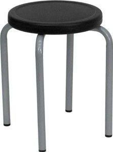 Flash Furniture YK01B-GG Stackable Stool with Black Seat and Silver Powder Coated Frame