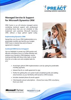 Datasheet about Preact's managed service and support for Microsoft Dynamics to spread the upfront cost of CRM.