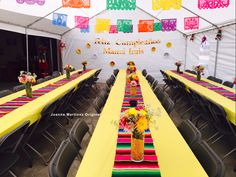 Mexican Themed Party/Fiesta Credit: Banners-Mexican Party store Plastic Table covers Roll-Party City Table runners-Mexican Party Store Tent Flowers-Michaels Birthday Banner-Made by me:)