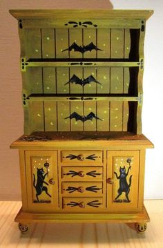 DOLLHOUSE MINIATURE HALLOWEEN HAND PAINTED OOAK CABINET BLACK CAT WITCH JOL RYTA  | eBay