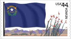 "The Nevada flag displays a half wreath of sagebrush cradling a single star; a banner with the words ""Battle Born"" refers to Nevada's admission to the Union during the Civil War. Snapshot art features ocotillos against a mountainous background."