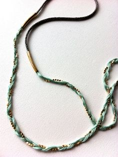 Tika Long Summer Necklace - Soft Pale Mint-Turq Braided Yarn & Shiny Gold Flat Bead w/ Grey and Gold Lurex Cord -  www.etsy.com/shop/beezbzzz