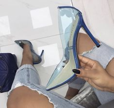 Clear Pointy Toe Pumps With Killer Stiletto Heels Platform High Heels, High Heels Stilettos, Stiletto Heels, Shoes Heels, Heeled Sandals, Sandals Outfit, Prom Heels, Shoes Sneakers, Cute Shoes