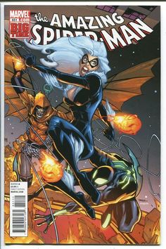 Black Cat, Spiderman & Hobgoblin by Humberto Ramos Amazing Spiderman, Spiderman Black Cat, Black Cat Marvel, Marvel Comic Universe, Marvel Dc Comics, Anime Comics, Comic Book Artists, Comic Artist, Comic Books Art