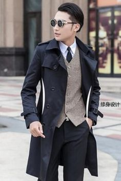 dc7adb13ab56a HOT 2018 Spring autumn New Men s clothing slim trench coat fashion long  design casual Male plus size overcoat outerwear-in Trench from Men s  Clothing on ...