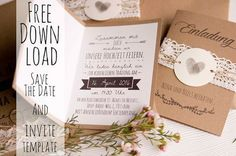 Hochzeitseinladung aus Kraftpapier kostenloser Download - rustic wedding invitation free template download and font tips