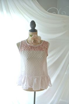 Romantic lace shirt Boho top upcycled hand by TrueRebelClothing, $52.00
