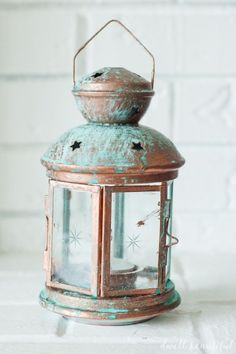 Get the aged vintage patina look in a snap without the wait! Check out how to use Modern Masters Metal Effects kits to make awesome patina-ed home decor pieces like this DIY Ikea Hack lantern!