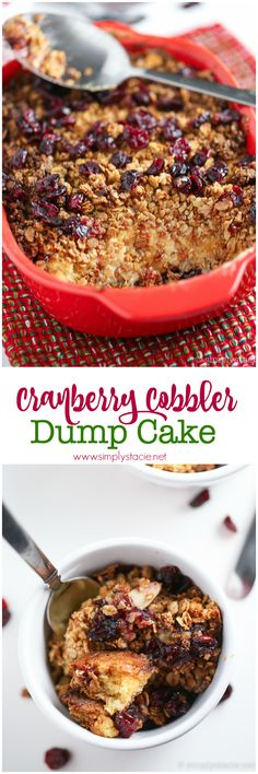 This Cranberry Cobbler Dump Cake recipe is unbelievably delicious and easy! It's also a great way to use up leftover cranberry sauce.