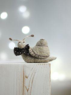 Needle Felted Snail Felt Snail With A Brown by FeltArtByMariana