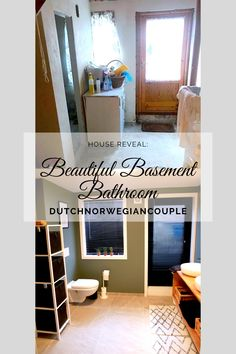 Second house reveal on the blog! The first one was our living room in the basement apartment. And today we'll show you our beautiful basement bathroom. We'll show you how to make a bathroom from basically nothing. Continue reading to see how we did it and learn how you can do this too!  #bathroom #oldhouserenovation #renovation #dutchnorwegiancouple #renovationblog #renovate #renovatebasement #fromoldtonew Concrete Porch, Concrete Floors, Basement Apartment, Basement Bathroom, Big Round Mirror, Window Replacement, Take A Shower, Bathroom Furniture, Main Colors
